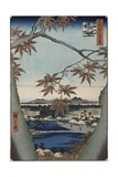 Maple Leaves and the Tekona Shrine, and the Bridge at Mama, from the Series 'One Hundred Views of… Giclee Print by Ando or Utagawa Hiroshige