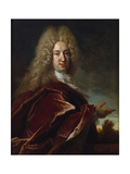Portrait of a Gentleman, Wearing a Long Wig, Lace Jabot and Burgundy Cloak Giclee Print by Nicolas de Largilliere