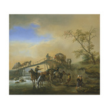 Travellers with Packhorses and Wagons Near a Wooden Bridge, C.1655 Giclee Print by Philips Wouwermans Or Wouwerman