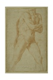 Nude Man Striding Forward, with Arms Folded and Looking over This Right Shoulder Giclee Print by Guido Reni