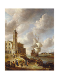 The Herring Packer's Tower, Amsterdam, with Figures Giclee Print by Anthonie Beerstraten