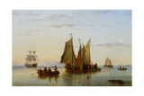 Fishing Boats and Other Vessels on the Scheldt Near Rotterdam, 1852 Giclee Print by Henry Redmore