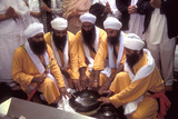 Five Sikh Men Symbolising the Original Five Holy Ones at the Initiation Ceremony of the Khalsa in… Photographic Print