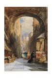 Venice: an Edicola Beneath an Archway, with Santa Maria Della Salute in the Distance, 1853 Giclee Print by James Holland