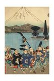 The Daimyo's Entourage before Mount Fuji, 1858 Giclee Print by Utagawa Yoshitora