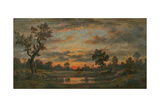 Landscape at Sunset Giclee Print by Théodore Rousseau