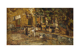Farmyard with a Donkey and Cockerels Giclee Print by Adolphe Joseph Thomas Monticelli