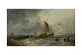 Stormy Seascape with a Sailing Boat Close to a Jetty, 1864 Giclee Print by William Henry Williamson