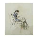 Gentleman Seated in an Armchair Reading a Book and Smoking a Pipe Giclee Print by Giovanni Boldini