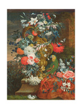 Bouquet of Flowers and a Parrot Giclee Print by Jean Picart