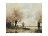 Fishermen Moored at a Bank Giclee Print by Jean Baptiste Camille Corot