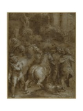 Horses and Men, Facing Right Giclee Print by Taddeo Zuccaro