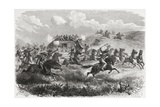 Indians Attacking a Transcontinental Stagecoach in 1867, Illustration from 'The World in the… Giclee Print by Ange-Louis Janet