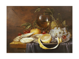 A Roemer, a Peeled Half Lemon on a Pewter Plate, Oysters, Cherries and an Orange on a Draped Table Giclee Print by Joris van Son