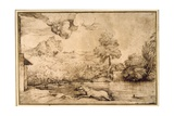 Landscape: a Riderless Horse Pursued by a Serpent Giclee Print by  Titian (Tiziano Vecelli)