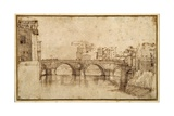 The Isola Tiberiana, Rome Giclee Print by Agostino Carracci