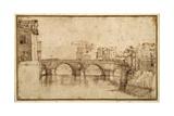 The Isola Tiberiana, Rome Giclee Print by Agostino Carracci