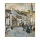 Street in Pont Aven - Evening, 1897 Giclee Print by Childe Hassam
