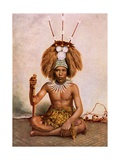 A Manaia, the Son of a Samoan Chief (Matai) Wearing a Tuiga Head Dress, 1890-1910 Giclee Print by Thomas Andrew