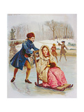 Children Skating Giclee Print by Maurice Leloir
