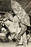 Iban Dayak Tribesman Performing a Dance, Sarawak, Malaysia C.1940-50 Photographic Print