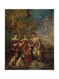 Three Women in the Park Giclee Print by Adolphe Joseph Thomas Monticelli
