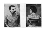 Mr and Mrs Frank Burgh Demonstrate the Art of Tattooing in Usa, 1893 Giclee Print