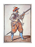Arquebusier Armed with Matchlock Musket, Illustration from 'Manual of Arms', 1607 Giclee Print by Jacques II de Gheyn