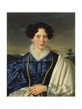 Portrait of a Gentlewoman in a Blue Dress, 1820-30 Giclee Print by Leopold Kupelwieser