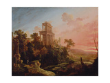 Landscape with Setting Sun, 1705 Giclee Print by Antoine Pierre the Younger Patel