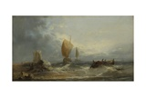Stormy Seascape with Sailing Boats and a Rowing Boat Close to a Beach, 1864 Giclee Print by William Henry Williamson