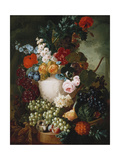 Roses, Poppies and Other Flowers in a Sculpted Vase with Fruit, a Mouse and a Bird's Nest on a… Giclee Print by Jan van Os