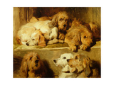 Hounds in a Kennel Giclee Print by Edwin Henry Landseer