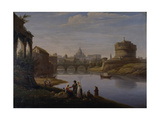 A View of St. Peter's with the Ponte and Castel Sant' Angelo, Rome, 1823 Giclee Print by William Cowen