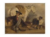 Man Reclining Accompanied by a Horse and a Dog Giclee Print by Richard Ansdell