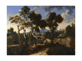 Landscape with Villagers, C.1640 Giclee Print by  Gaspard Dughet and Jan van Miel