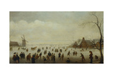 Winter Landscape with Numerous Skaters, Golf Players and Peasants on Frozen Waterways Giclee Print by Antoni Verstralen