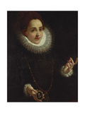 Portrait of a Lady Holding a Portrait Miniature of a Gentleman Giclee Print by Lodovico Carracci