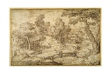 Wooded Landscape with a Farmstead and a Wooden Bridge over a Sluice Giclee Print by Domenico Campagnola