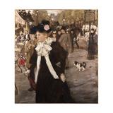 Elegant Lady on the Boulevard Des Italiens, C.1899 Giclee Print by Jean Francois Raffaelli
