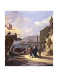 A Capriccio of a Mediterranean Port Giclee Print by Johannes Lingelbach