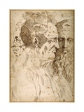 Three Male Heads Juxtaposed Giclee Print by Baccio Bandinelli