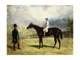 A Gentleman by His Racehorse with Jockey Up on a Racecourse, 1863 Giclee Print by Harry Hall