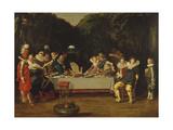 Elegant Figures Feasting in an Arbour Lámina giclée por Dirck Hals