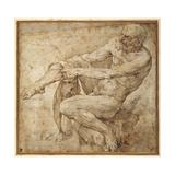 Naked Man Pulling on His Hose, after Marcantonio Raimondi and Michelangelo Buonarroti Giclee Print by Bartolomeo Passarotti