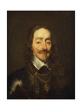 Portrait of King Charles I Wearing Armour and the Collage of the Order of the Garter Giclee Print by William Dobson