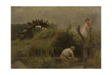 Agricultural Workers Cutting Rushes, 1885 Giclee Print by Edgar Barclay