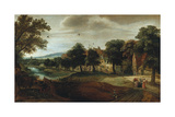 A Wooded River Landscape with Village Buildings and Abraham and the Three Angels Giclee Print by Adriaen van Stalbemt