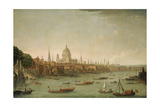 A Panoramic View of the City of London from the Thames Near the Water Gate of Somerset House Giclée-tryk af Antonio Joli