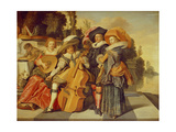 Elegant Figures Making Music on a Terrace by a Lake Giclee Print by Dirck Hals